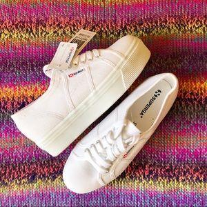 Superga white platforms sneakers size 9